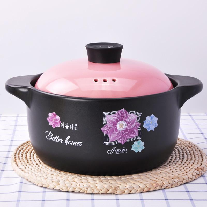 嘉家 韓式砂鍋燉鍋煲湯陶瓷明火耐高溫 煮粥燜燒沙鍋具石鍋彩蓋子