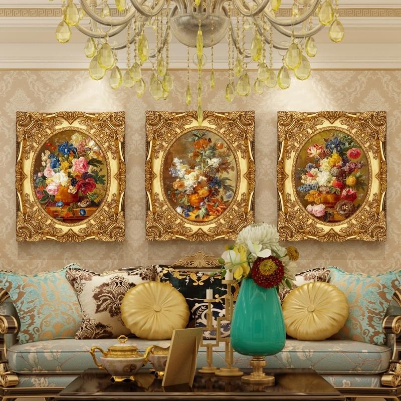 璇美 欧式客厅沙发背景墙装饰画 三联组合花卉简欧高端油画挂壁画图片