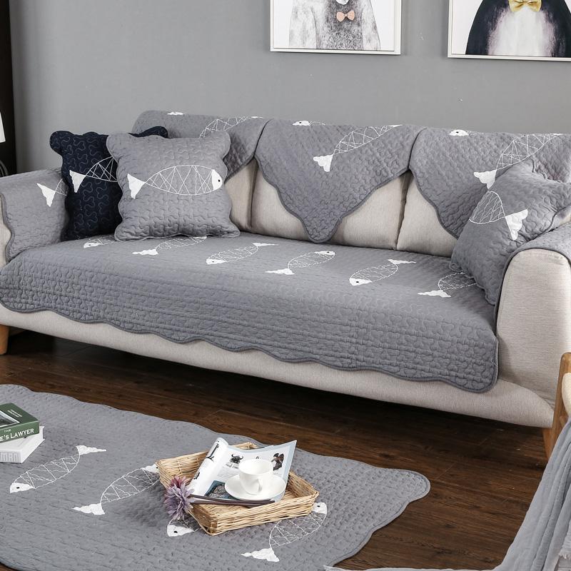 九只猫 全棉沙发垫纯夏布艺简约现代防滑坐垫四季通用皮沙发套巾