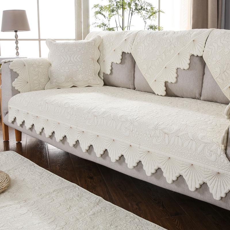 九只猫水洗全棉刺绣沙发垫四季通用北欧简约客厅防滑纯棉布艺垫子