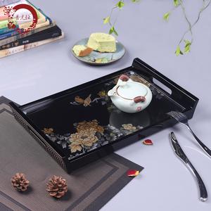 晋元恒新中式彩绘漆器托盘欧式木质客厅创意长方形果盘茶几收纳盘