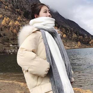 新款围巾女秋冬季韩版百搭学生情侣ins可爱少女士保暖毛线围脖男图片