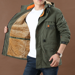 棉衣男士 宽松户外登山外套保暖冲锋衣 大码 加绒加厚多口袋工装 冬季