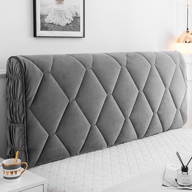 全包布艺床头罩软包简约现代床头套欧式皮床防尘罩木床头保护套子