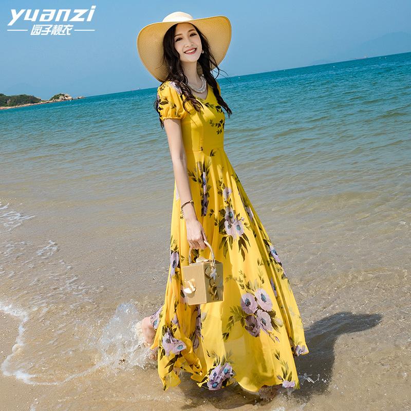 园子靓衣2019夏季新款收腰v领黄色雪纺连衣裙度假长裙沙滩裙760