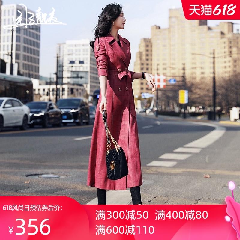 红色格子风衣女2021年新款修身收腰时尚长款过膝超长流行外套3063