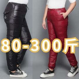 200斤加肥加大中老年人羽绒裤女款加厚特大码胖妈妈高腰外穿棉裤3