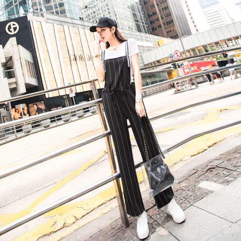 2018夏季新款俏皮背带裤两件套女夏小心机雪纺高腰chic阔腿裤套装