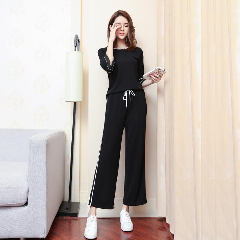 【反季清仓】chic2018春装新款时尚两件套女神洋气针织阔腿裤套装
