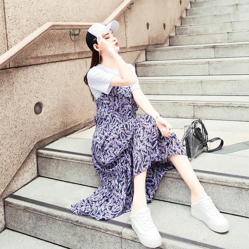 民族风夏装女吊带长裙显瘦两件套渡假碎花雪纺连衣裙2018新款裙子