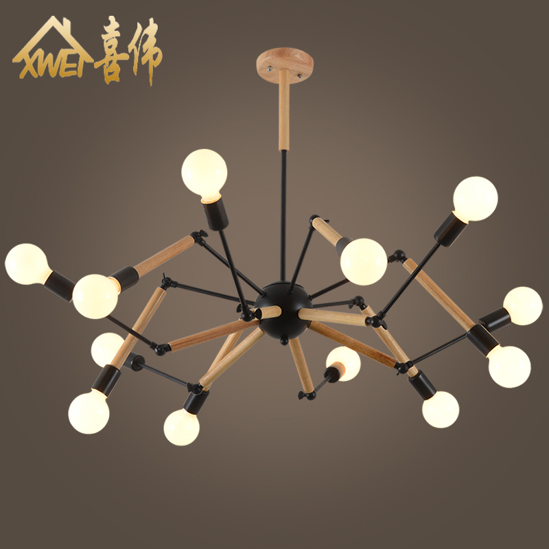 Nordic postmodern living room dining room retro personality clothing store bar creative industry wind wood iron spider Chandelier