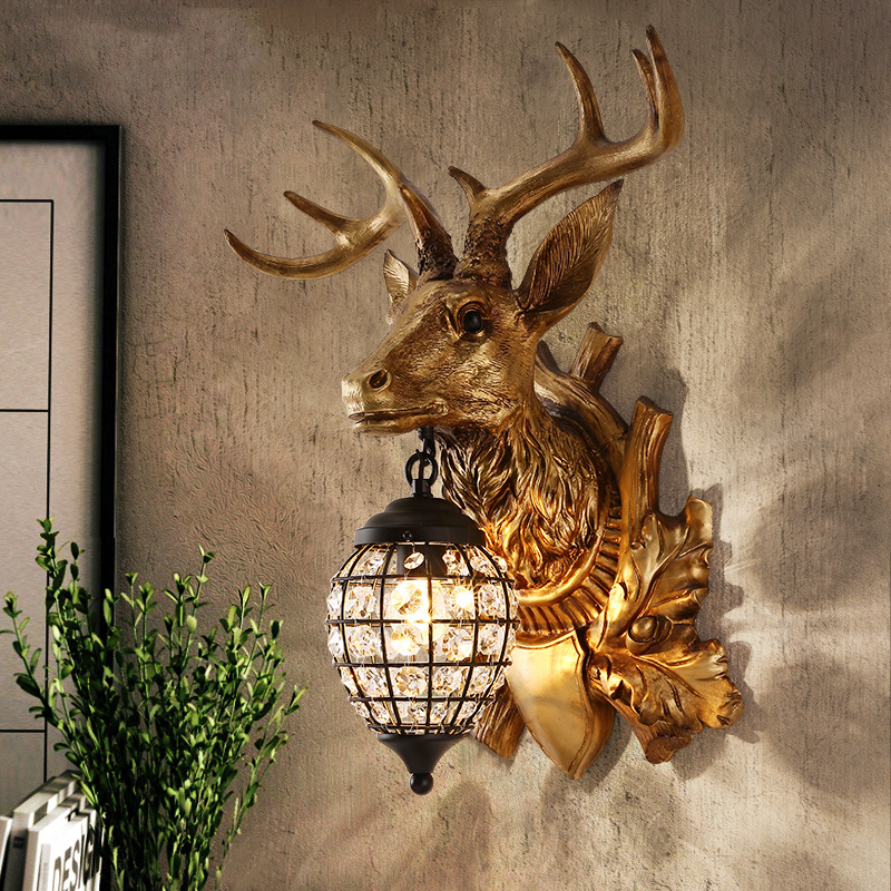 Staghorn wall lamp Nordic creative living room TV background wall bedside aisle deer head wall lamp