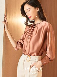 重磅真丝衬衫女上衣时尚洋气长袖桑蚕丝高端衬衣气质新款2020年