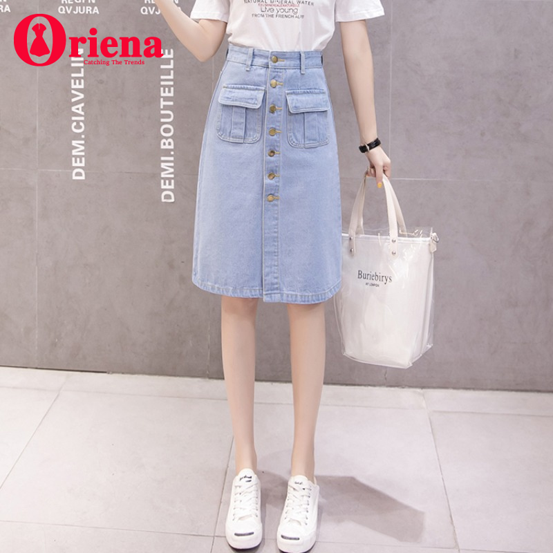 Spring and summer college style single breasted front slit high waist womens denim skirt knee length A-line mid skirt one step skirt