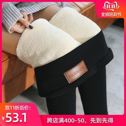 超厚特厚东北羊羔绒打底裤女冬季一体裤加绒加厚高腰外穿保暖棉裤