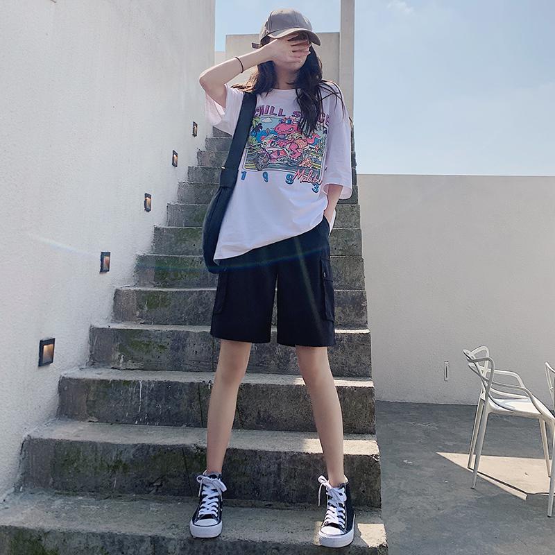 工装短裤女夏宽松2020新款直筒休闲中裤高腰港味运动五分裤潮ins