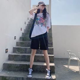 工装短裤女夏宽松2020新款直筒休闲中裤高腰港味运动五分裤潮ins图片