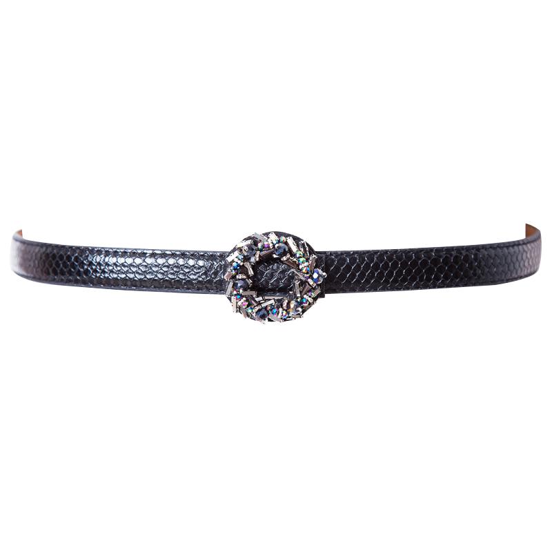 Adjustable waistband skirt belt versatile fashion skirt decoration Korean round diamond inlay European and American fashion nail bead narrow belt