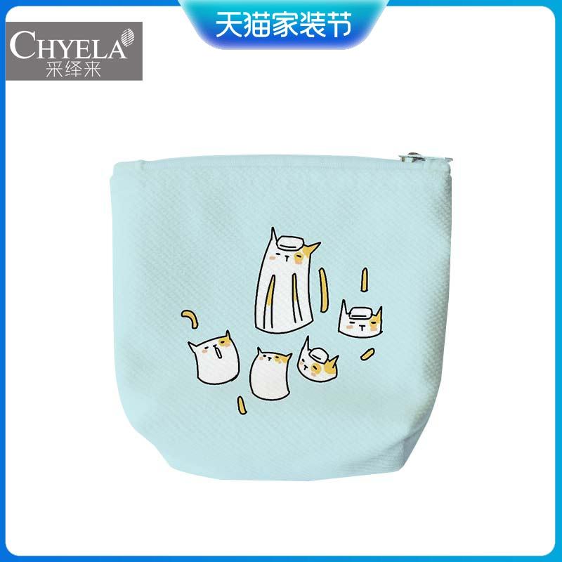夏日薄荷猫猫搞怪可爱日韩系插画零钱包包收纳折叠便携小袋子AU59