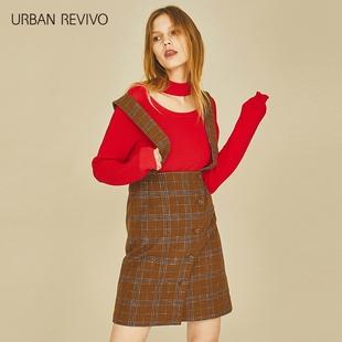 UR2017秋冬新款青春女装背带格羊毛修身H型半身裙YL37S5BN2000