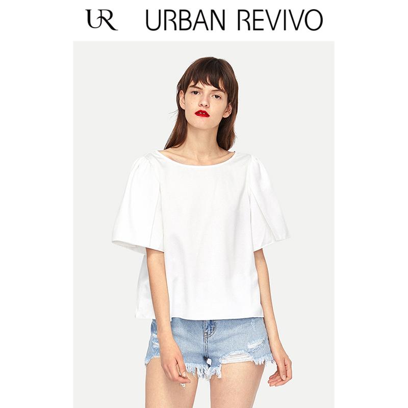 UR2018夏季新品女装简约舒适圆领短袖罩衫套头衬衫WG18S2CE2012