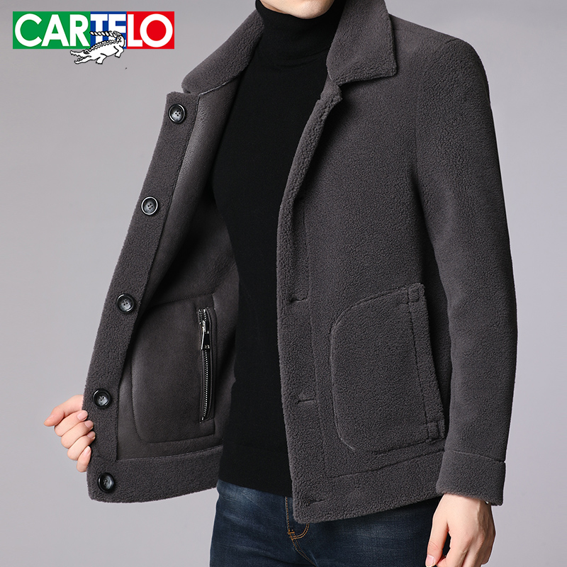 Cartier crocodile middle aged men's wool coat fur one men's double-sided lamb hair men's short coat