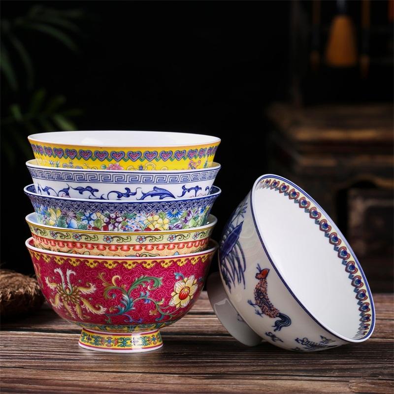 热销138件假一赔十景德镇陶瓷器碗单个高脚防烫米饭碗中式泡面碗碟套装家用仿古寿碗