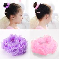 韩版儿童舞蹈发圈女盘发头花丸子头花苞头发网小女孩甜美扎头发饰