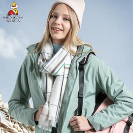 稻草人冲锋衣男女潮牌三合一两件套可拆卸登山服加绒加厚户外服装图片