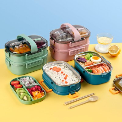 304 stainless steel separated double-layer lunch box student lunch box set office worker female portable lunch box canteen meal