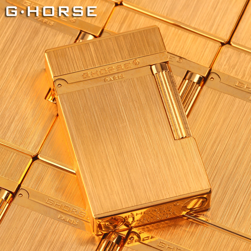 法國ghorse正品男士朗聲打火機定制防風充氣復古超薄個性純銅砂輪