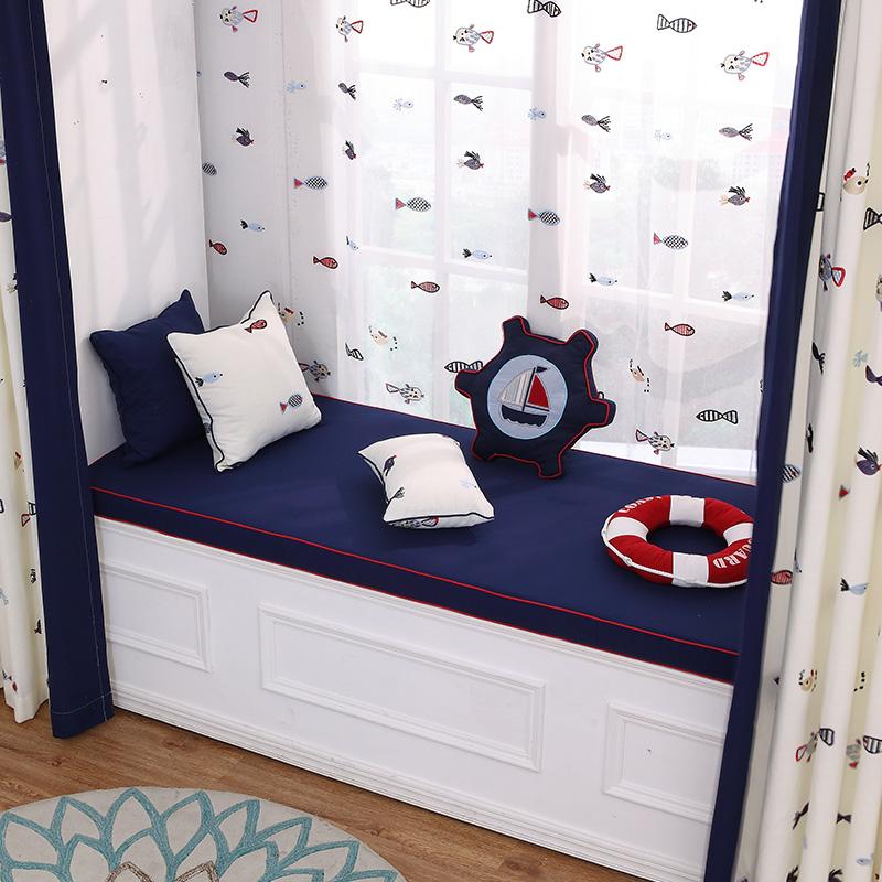 地中海蓝飘窗垫 窗台定做 高密度海绵阳台垫子订做 榻榻米垫