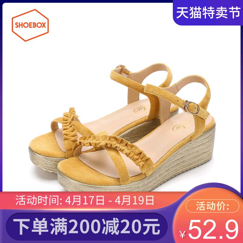 Daphne/达芙妮旗下鞋柜夏新款优雅褶皱装饰舒适坡跟防水台凉鞋女