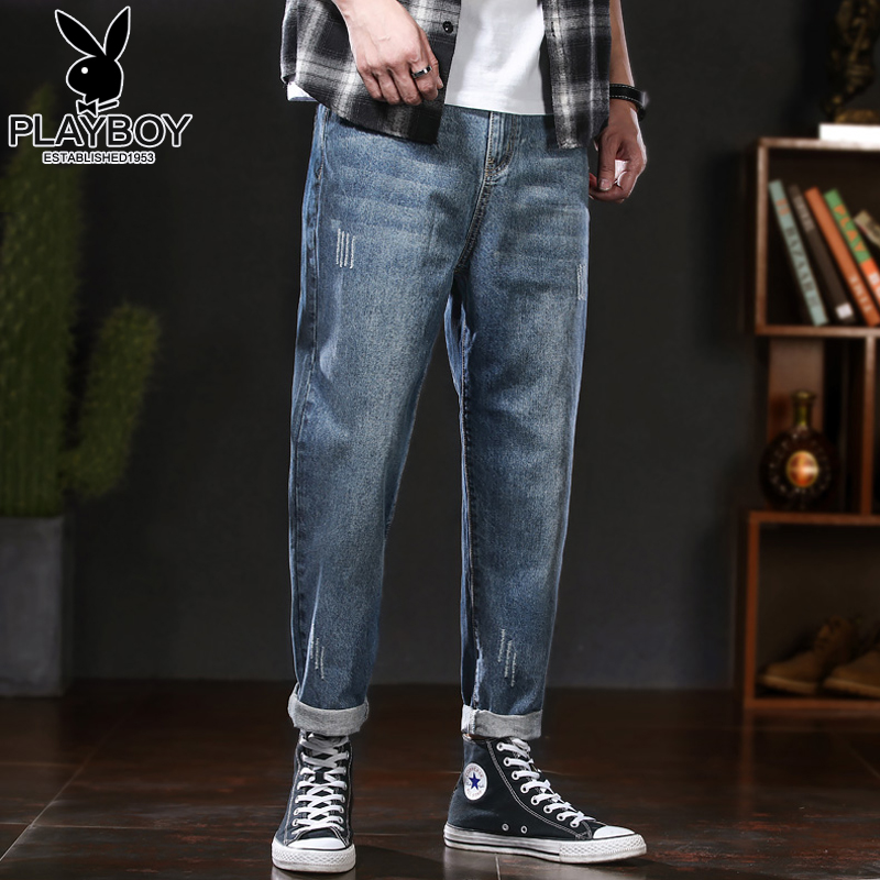 Playboy thin jeans men's 2020 summer Korean fashion trend brand straight casual small feet loose pants