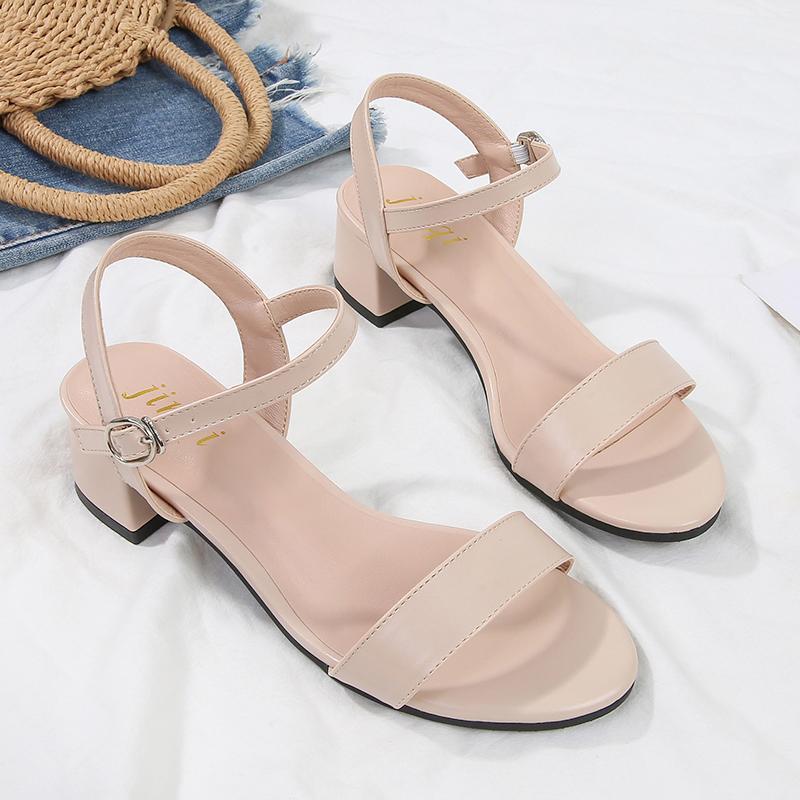 凉鞋女2020年新款时装百搭夏季仙女风粗中跟配裙子一字带罗马女鞋