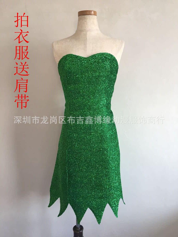 万圣节精灵仙女角色扮演服装小叮当绿色连衣裙
