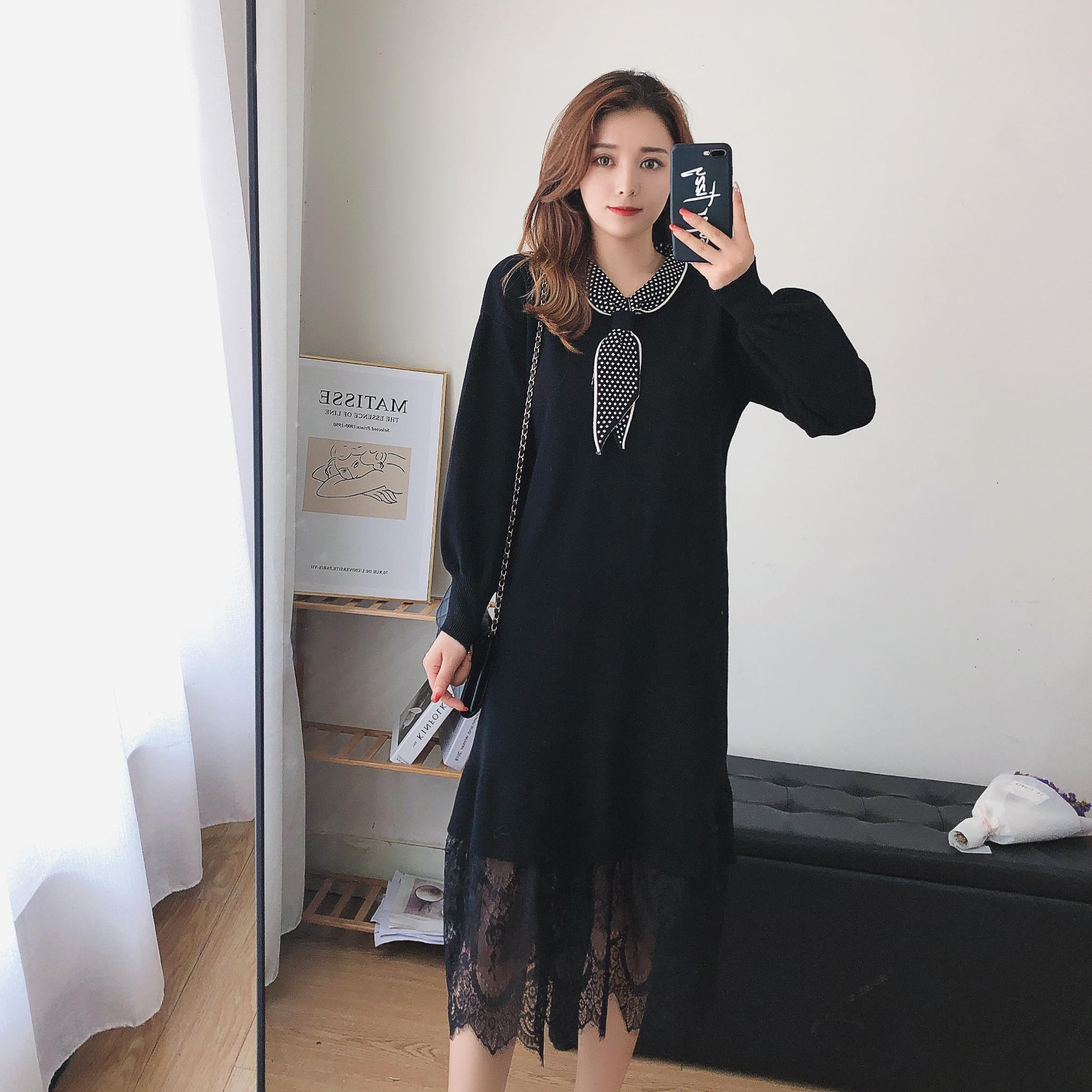 词格2020年新款女设计师款长裙遮肚子显瘦黑色针织领结连衣裙子