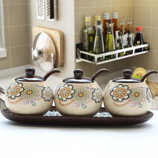 欧式调味罐盐罐套装厨房用品陶瓷调料瓶罐家用收纳盒组合装调料盒