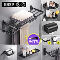 不锈钢可折叠打孔浴巾架毛巾架浴室挂件卫生间厕所单层置物架304