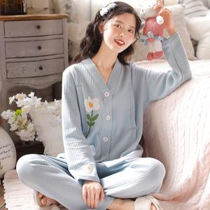 富朵月子服10月春秋产后哺乳睡衣夹棉孕妇喂奶衣11加厚家居服套装