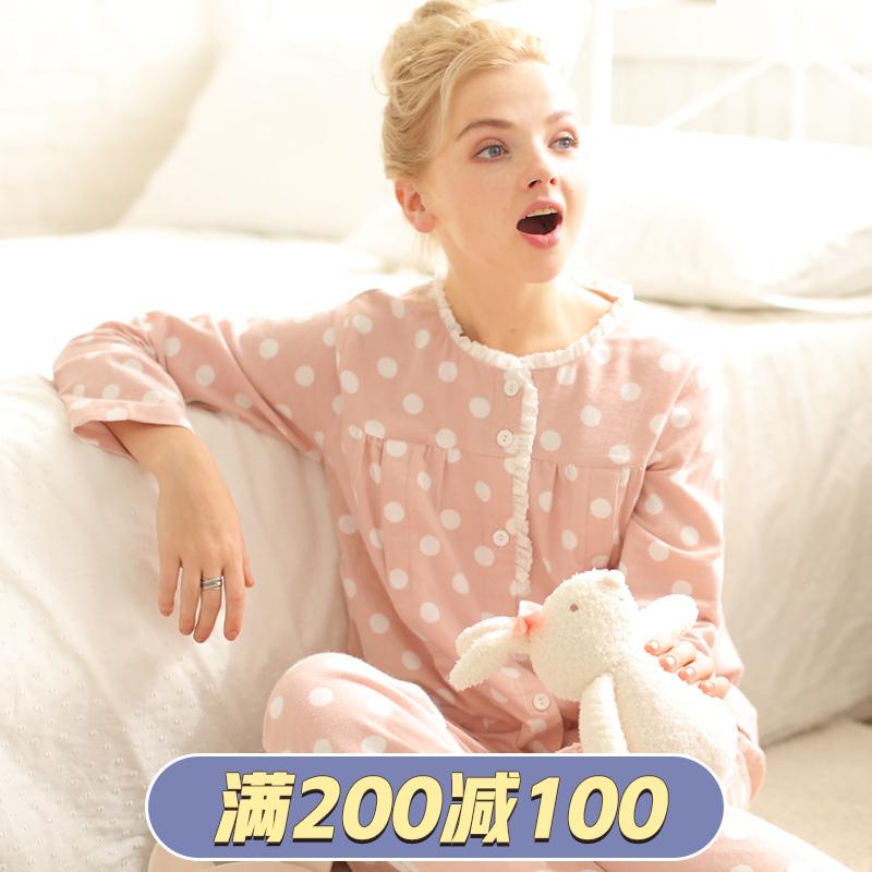 富朵 春秋纯棉绒布月子服秋冬舒适长袖孕妇睡衣哺乳喂奶家居服