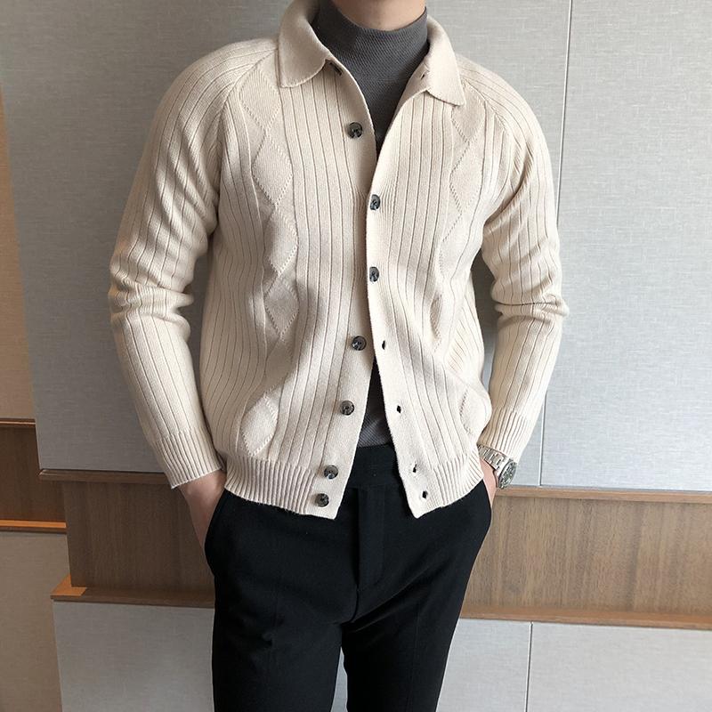 【摩摹】春秋纯色棱形格子毛衣外套 韩版复古翻领百搭针织开衫男