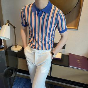摩摹男装 韩版夏季短袖T恤男翻领条纹针织冰丝POLO衫修身半袖体恤