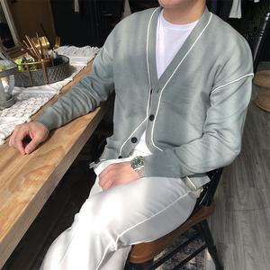 摩摹男装 自制开衫男 韩国东大门秋冬季宽松V领纯色针织外套男潮