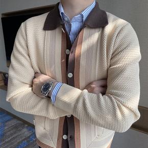 摩摹男装 秋冬季新款毛衣开衫男英伦复古撞色修身休闲针织衫外套