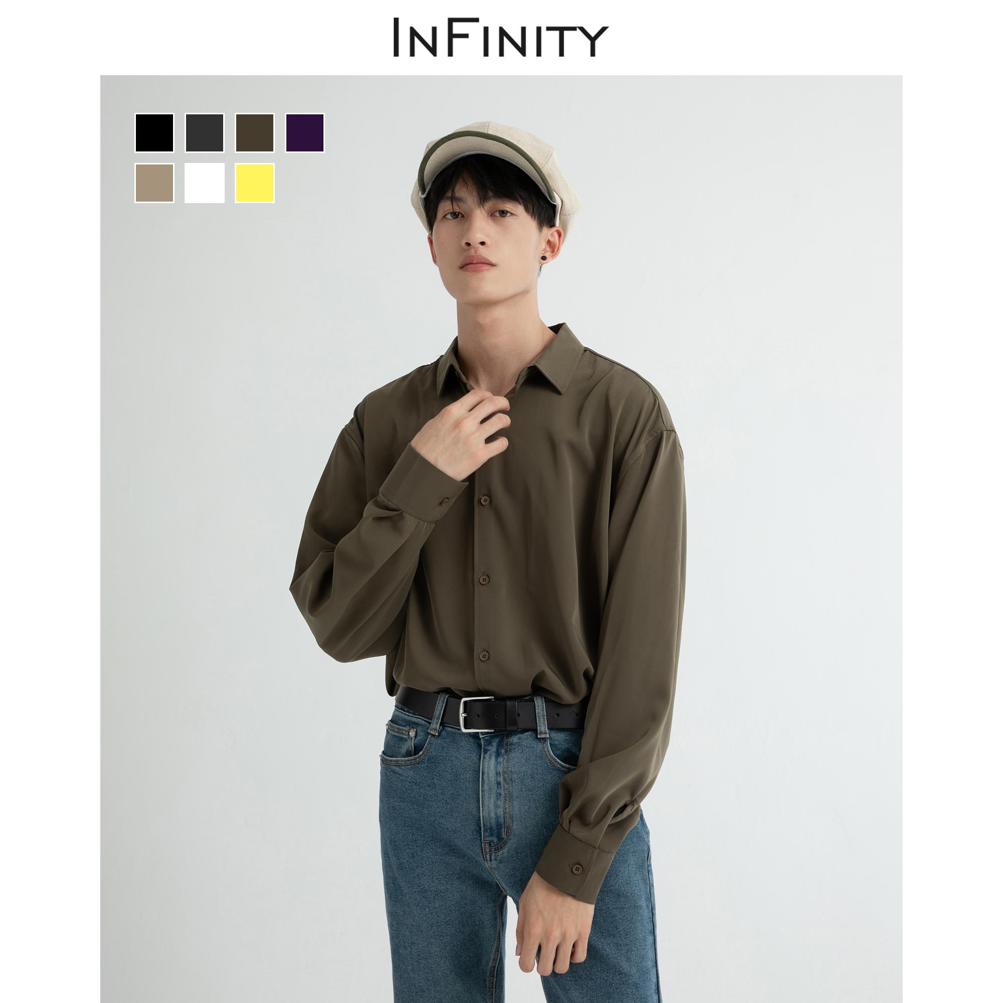 热销1111件不包邮大赖自制秋季长袖纯色男宽松衬衫
