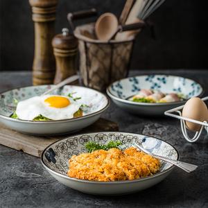 日式餐盘陶瓷盘子菜盘家用创意餐具7/8英寸圆盘大号碟子汤盘单个