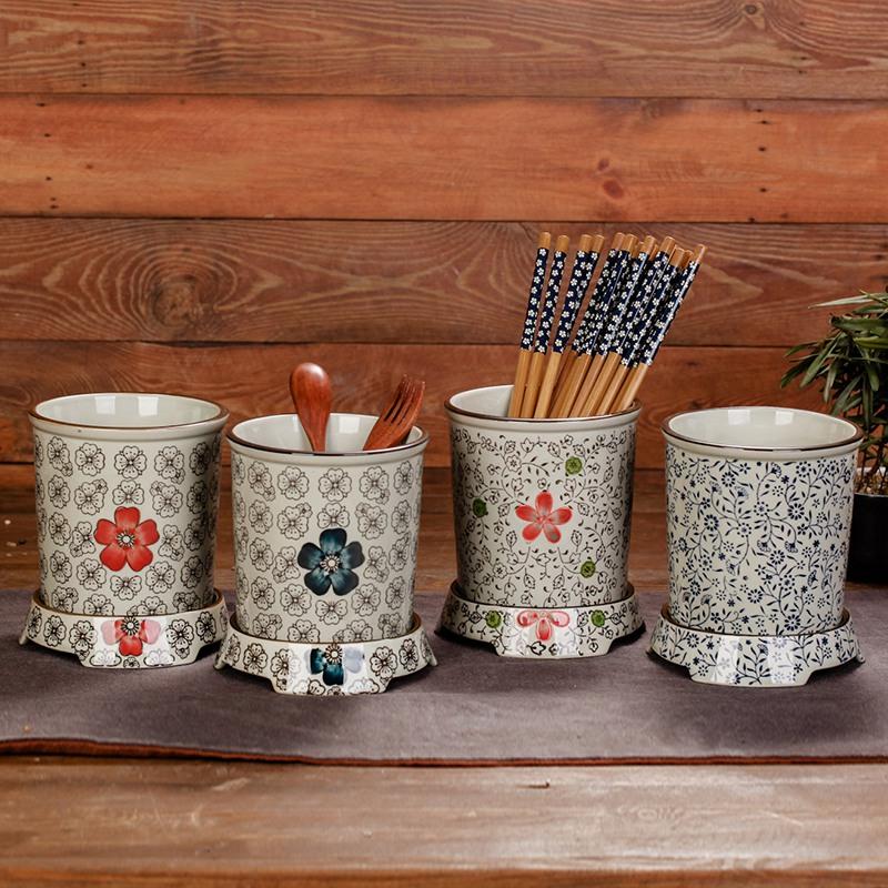 茗軒茶舍 釉下彩筷子筒 日式單座瀝水 陶瓷底座 筷子籠接水盤