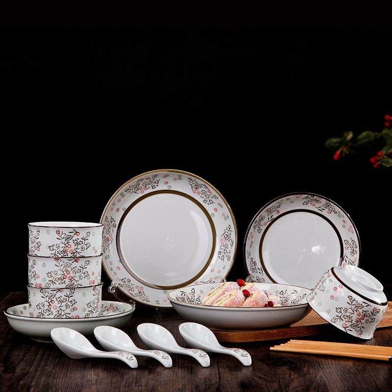 日式釉下彩陶瓷飯碗 碗盤瓷器盤碗勺新居餐具家用碗碟套裝