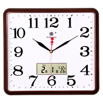 客厅静音钟表卧室挂钟办公室简约日历时钟时尚挂表温湿度石英钟表